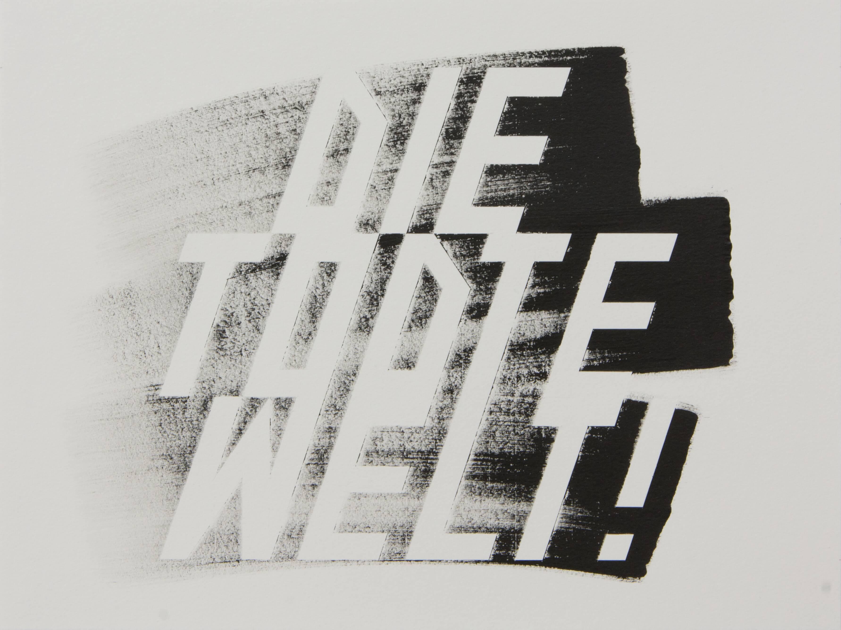 Lars Breuer Die todte Welt Aquarell Papierarbeit 2014 Addaux Artist Bielefeld Berlin Düsseldorf Grafik Schrift Galerie