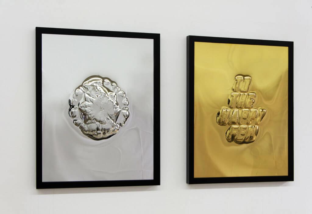 Lars Breuer Stendal To The Happy Few Diptychon Messing vergoldet verchromt 2015 Addaux Artist Bielefeld Berlin Düsseldorf Grafik Schrift Galerie