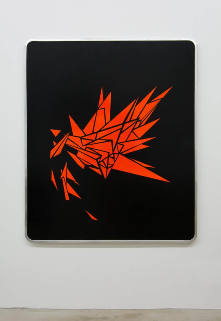 Lars Breuer Esplosione Lack Reflektionsfolie Straßenschild 2016 Addaux Artist Bielefeld Berlin Düsseldorf Grafik Schrift Galerie