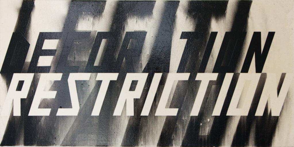 Lars Breuer Restiction Legitimation Decoration Kohle Leinwand 2016 Addaux Artist Bielefeld Berlin Düsseldorf Grafik Schrift Galerie