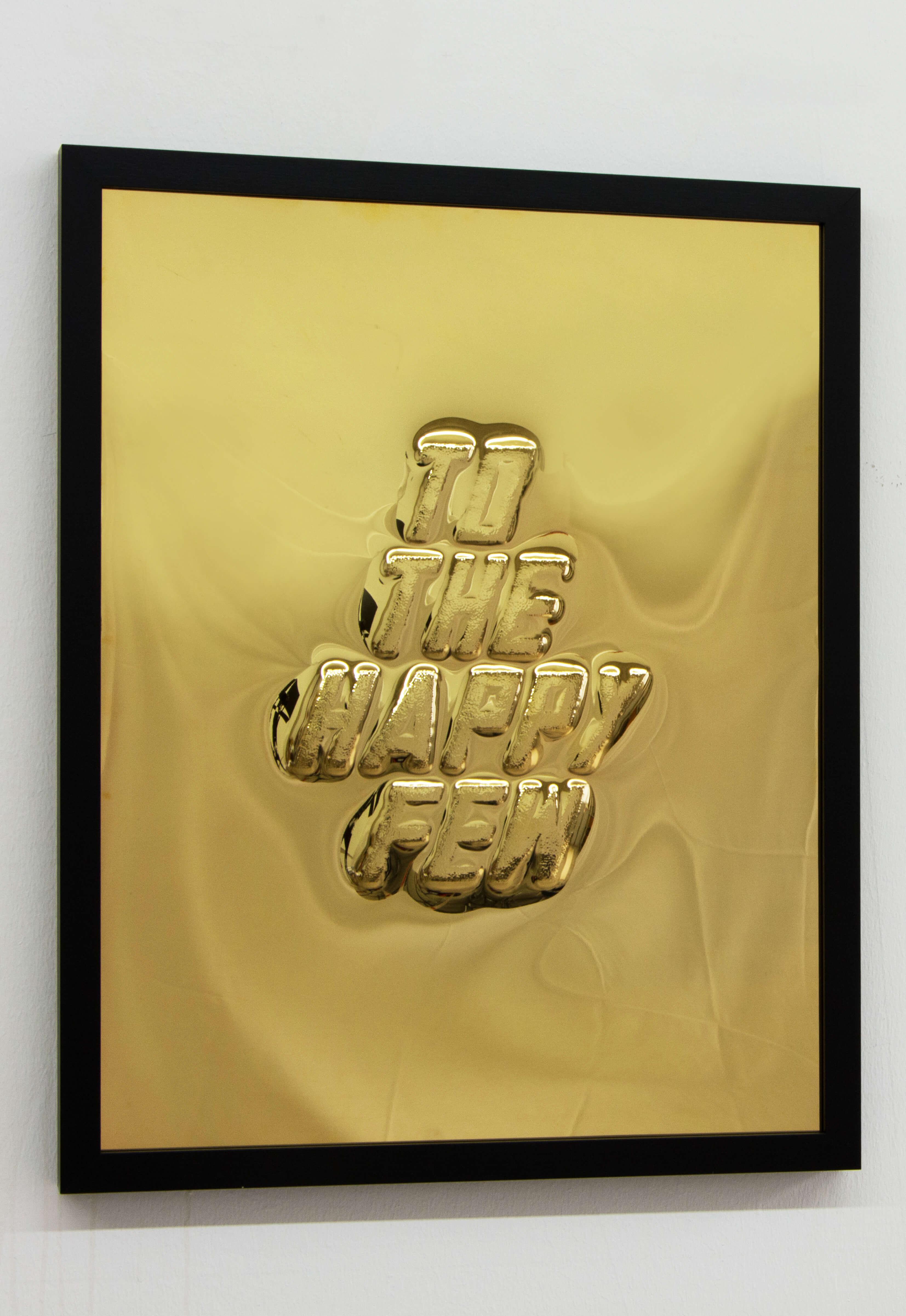 Lars Breuer To The Happy Few vergoldetes Messing 2015 Addaux Artist Bielefeld Berlin Düsseldorf Grafik Schrift Galerie